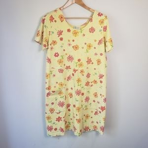 Vintage 90s Fresh Produce Yellow Floral T-Shirt Dress Floral Cottagecore Beach